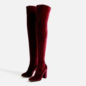 Zara burgundy velvet over the knee boots